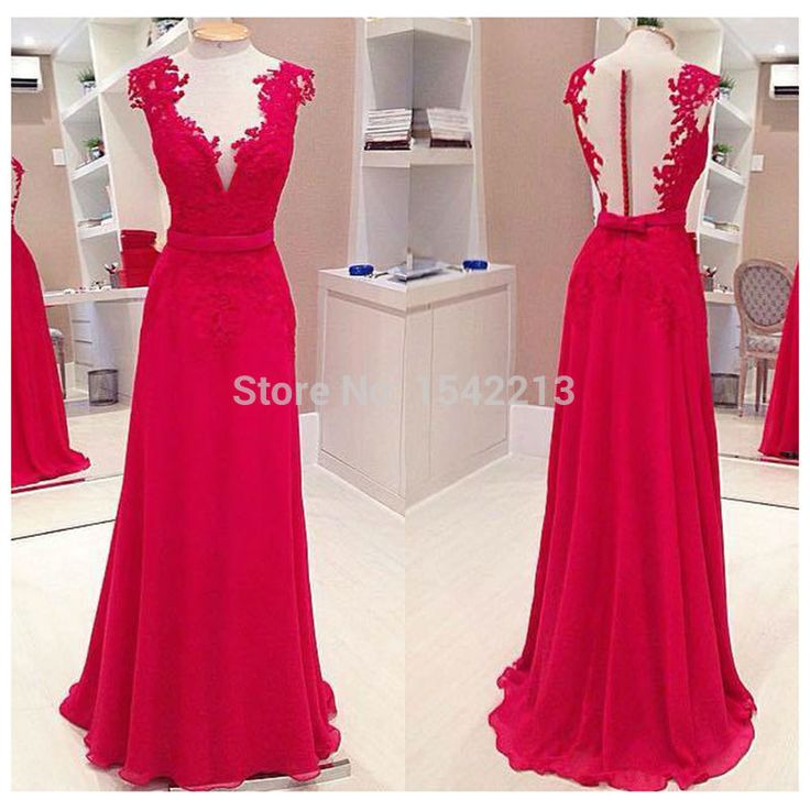 Kapmouwtjes red lace prom sexy diepe v hals lange formele avondjurken vestidos de festa 2016 in van prom dresses op AliExpress.com | Alibaba Groep
