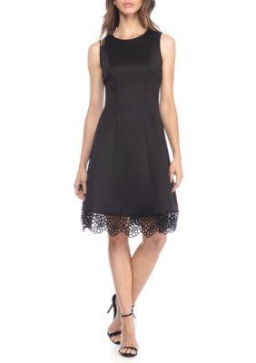 Donna Ricco New York Women's Sleeveless Lace Hem Dress - Black - 10
