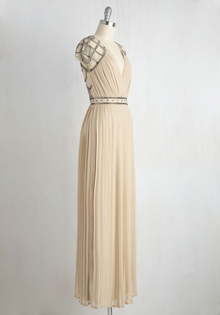 By Guest and By Gosh Dress. Of all your destination wedding preparations, choosing this taupe gown was the simplest of all! #tan #modcloth