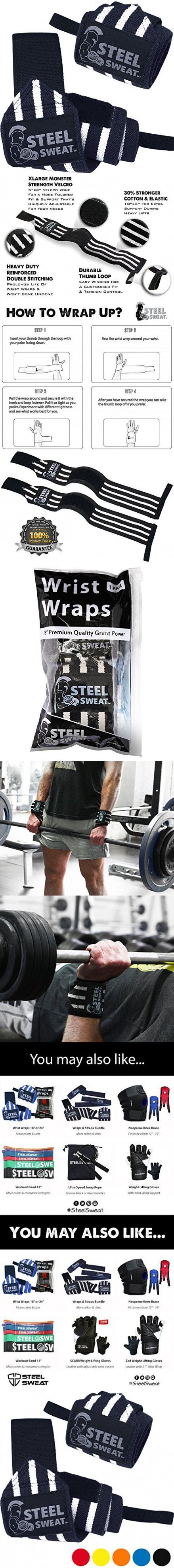 Steel Sweat Wrist Wraps 18 inches for Weight Lifting, Gym and Crossfit - Premium Grade Heavy Duty to Extreme Strength for best wrist support when Weightlifting - Brace and Guard Your Wrists