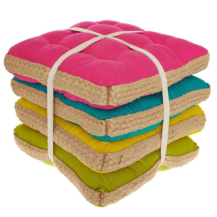 Set Of 4 Multicoloured Jute Seat Pads - TK Maxx