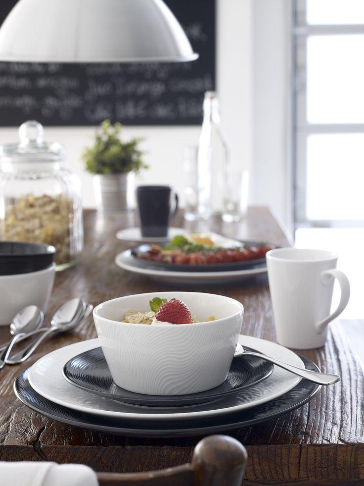 Noritake BOB & WOW tableware black and white with breakfast in warehouse location photographer/ stylist Brandee Meier