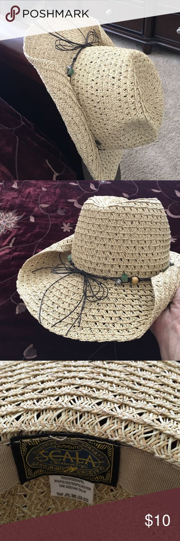 Scalia Women's Crocheted Raffia Rancher Hat One size, worn once Scala Other