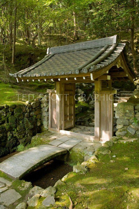 Moss Temple Garden Gate Kyoto Japan Photography by Strauski, $75.00