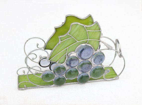 Stained Glass Art Napkin Holder Letter holder Handmade Home decor Gift