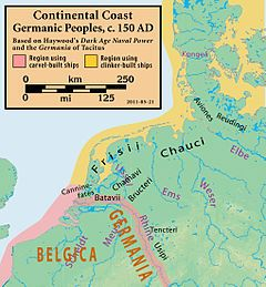 The Cananefates were a Germanic tribe that lived in the Rhine delta, on the western part of the Batavian Island (province of Germania Inferior, currently Betuwe in the western part of the Netherlands), in the Roman era, before and during the Roman conquest. (Continental.coast.150AD.Germanic.people)