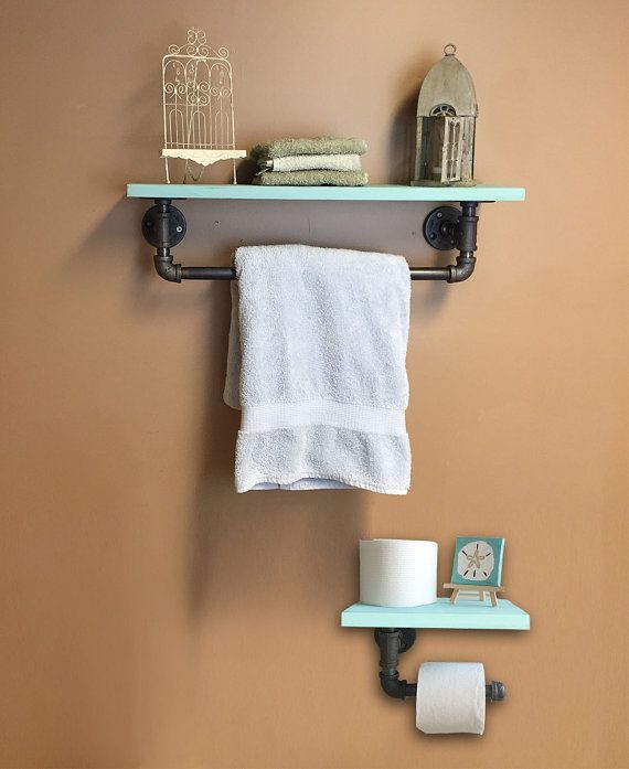 Beach Decor Industrial Style iron pipe accessories with shelves - Bathroom…