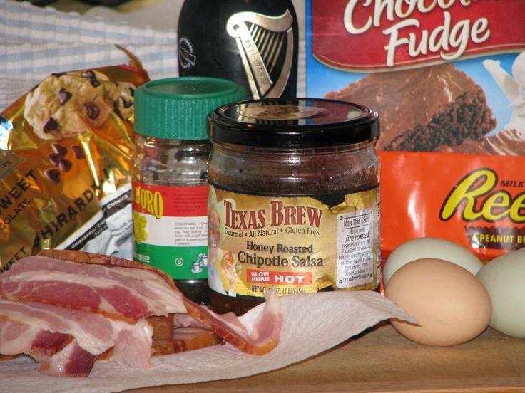 MAD MEAT GENIUS: TEXAS BREW BACON PEANUT BUTTER CUP ESPRESSO BEER BROWNIES: Beer Brownies, Bacon Peanut, Meat Genius, Mad Meat, Brew Bacon, Texas Brew, Espresso Beer, Peanut Butter Cups