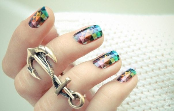 Geometric nail wraps and anchor ring