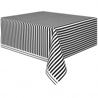 Black and White Striped Plastic Tablecloth | Black and White Striped Party Supplies | Black Party Supplies - Discount Party Supplies