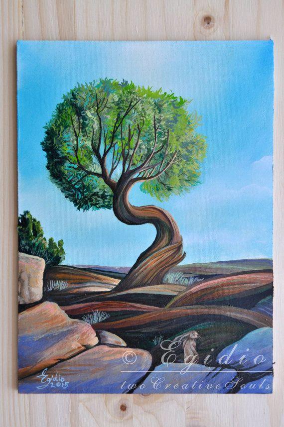 Dipinto ad olio con albero dal tronco contorto di twoCreativeSouls