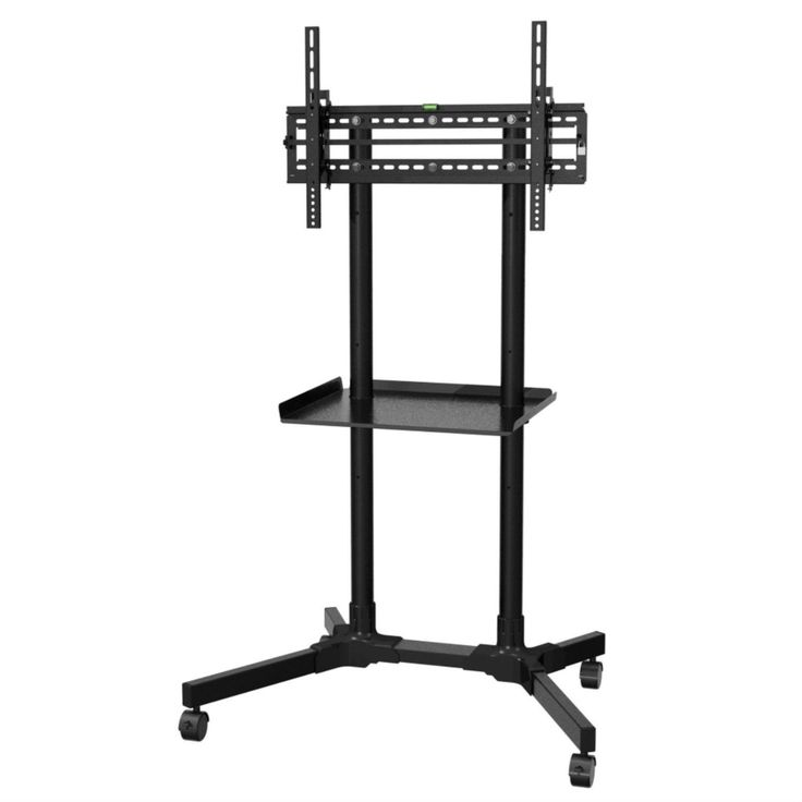 sturdy rolling tv stand trolley cart with shelf for flat screen tvs 32 to 55