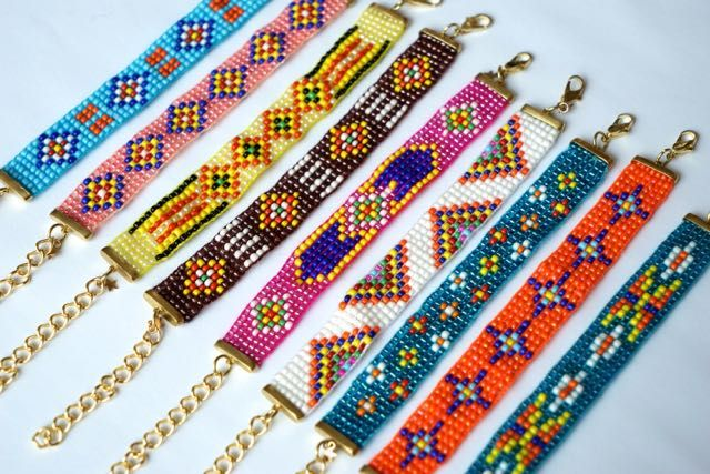 Thai woven seed-bead bracelets set in brass clasps with adjustable chains
