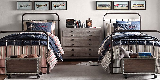 Classic Iron Beds & The Toy Boxes could work with the Train Theme---Millbrook Iron | Restoration Hardware Baby & Child