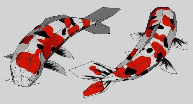 koi 3d model papermau sanke koi fish japanese carp paper model by