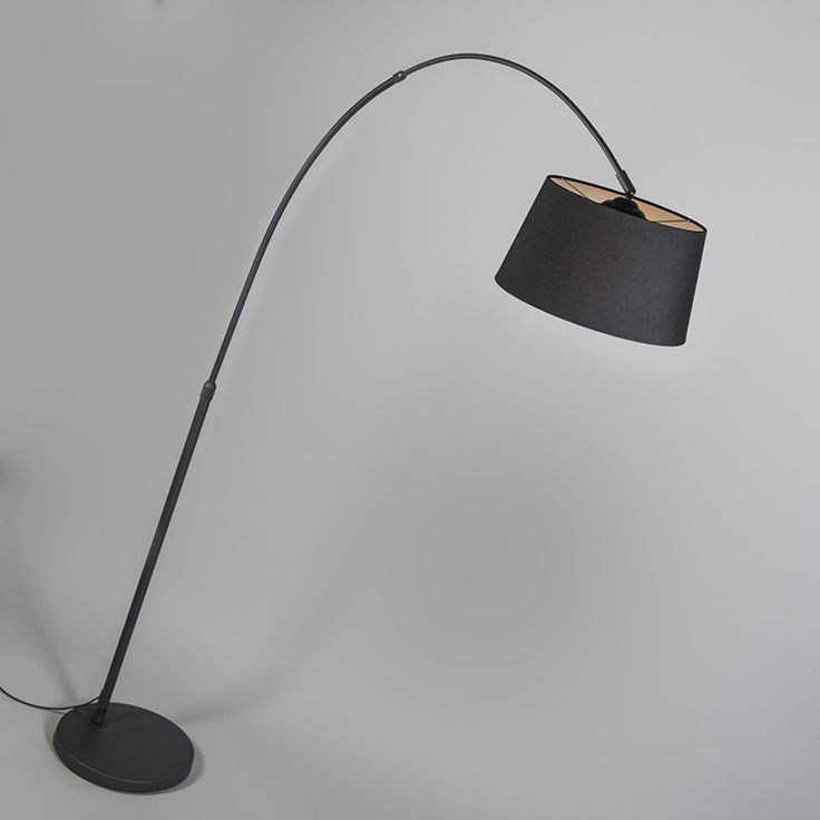 Arc Lamp Eco Black with Black Fabric Shade