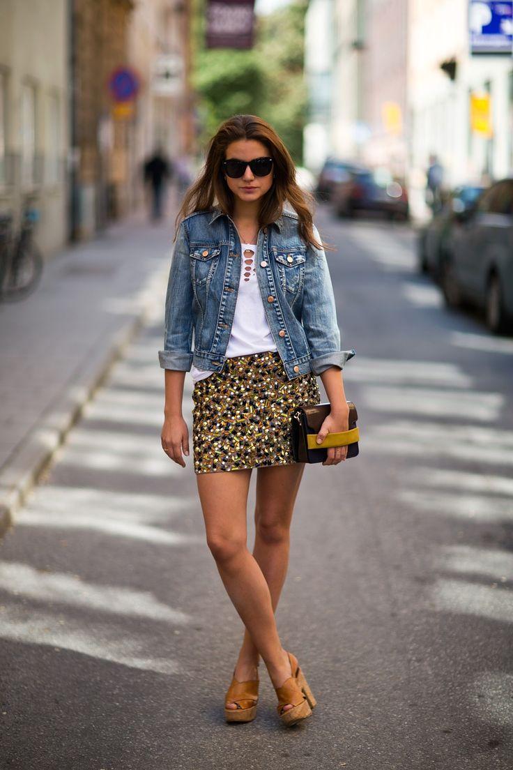 jean jacket, mini sequin skirt & cork heels