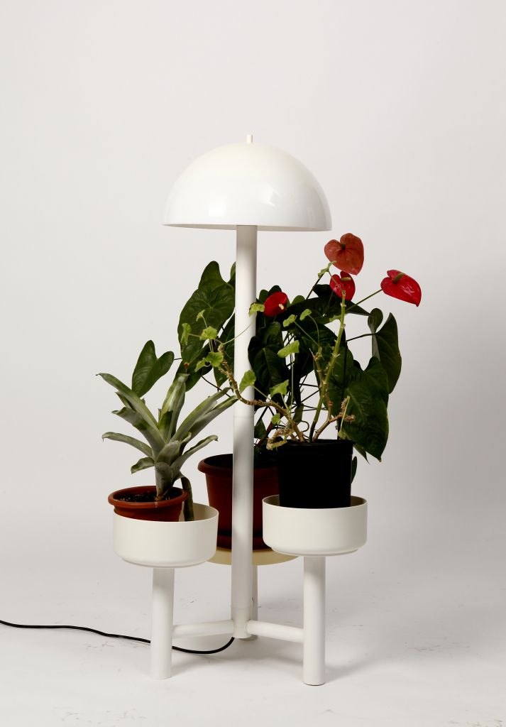 Multifunctional white floor lamp produced in Holland. Besides setting up the atmosphere, it doubles as a three-armed flower planter.    SIZE  Top diameter: 40 cm  Base diameter: 60 cm  Height: 125 cm