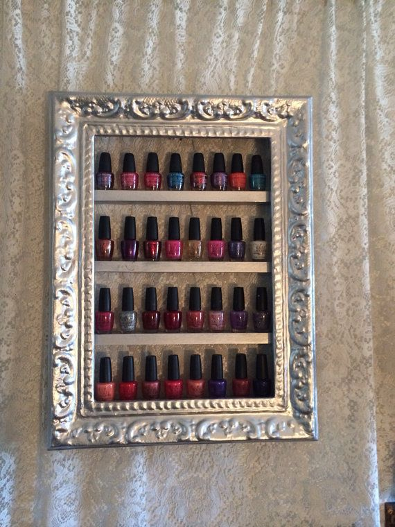 Nail Polish Shelf antique frame by RustyElegance on Etsy