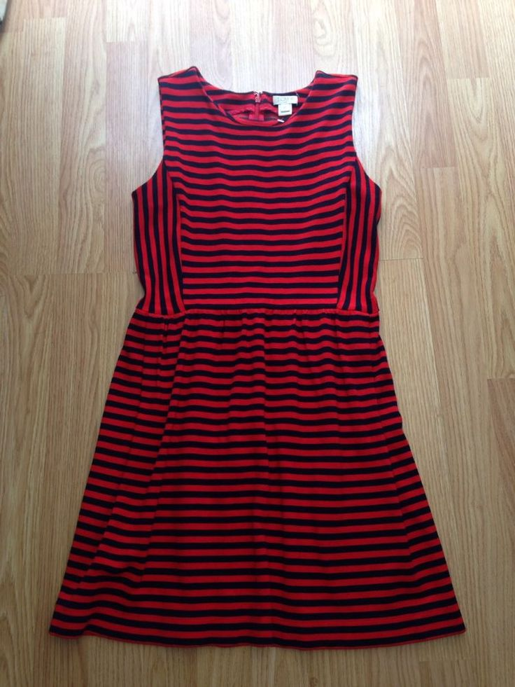 J.Crew Womens Red Navy Blue Stripes Extra Small Xs Zip Up Great Condition Dress #JCrew