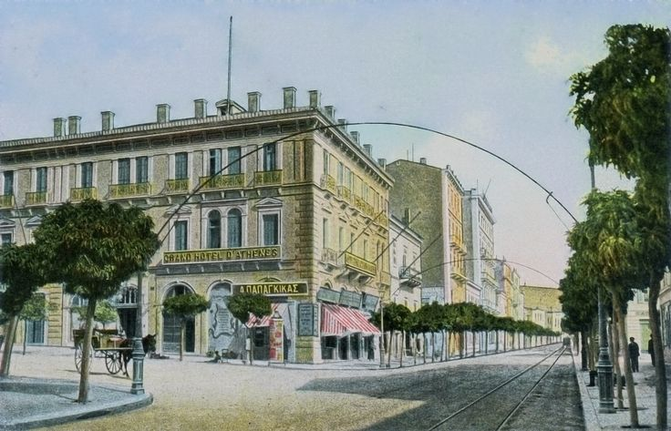"""https://flic.kr/p/bA329s   Grand Hôtel d'Athènes 1913   Stadiou 32 and Korai 2 (now housing the Zara clothing store).  The building was constructed in the 1880s, and originally known as """"Hôtel d'Egypte"""". By 1894, Baedeker was referring to it as """"Hôtel d'Athènes"""". Its final name of """"Grand Hôtel d'Athènes"""" appeared some time around 1913 -- thus providing the earliest likely date for this image.  Scanned and colour adjusted from an old postcard, expired copyright. ..."""