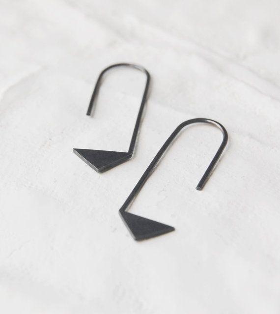 Pendientes geometricos de plata oxidada Nro 17