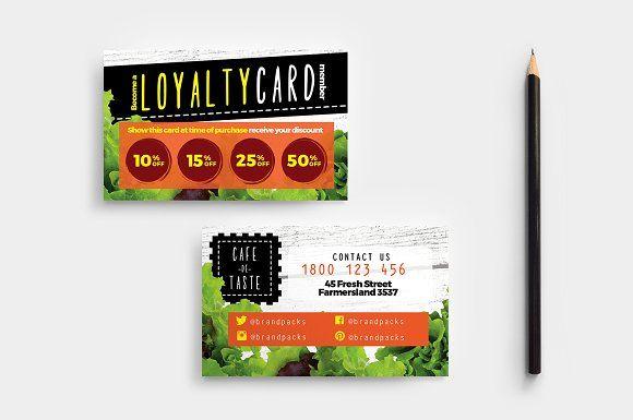 Salad Restaurant Loyalty Card Business Card Template Design Loyalty Card Template Business Cards Creative Templates