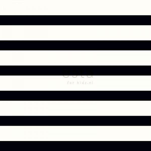 114933 behang horizontale streep zwart wit