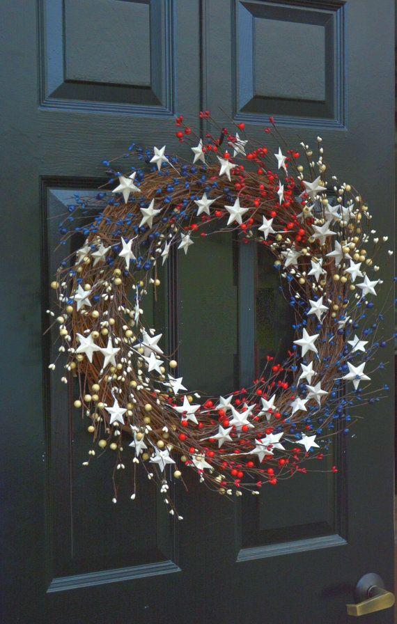 Memorial Day krans Fourth of July krans Americana door ElegantWreath