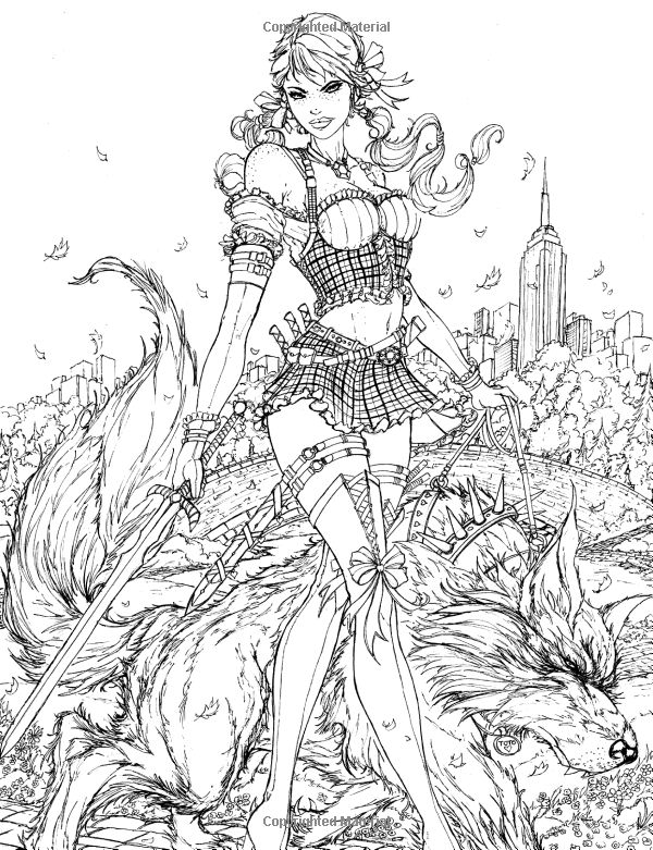 sexy girl with sword and wolf by side adult coloring book page - Sexy Coloring Book