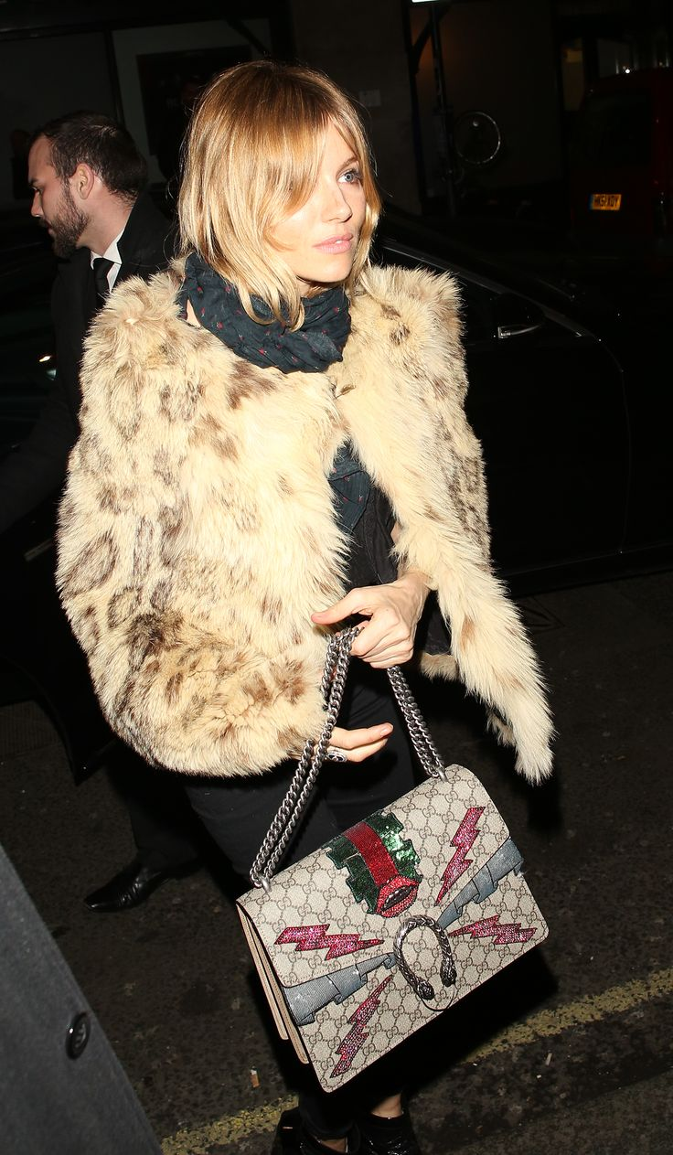 Spotted in London, Sienna Miller carrying a Gucci Dionysus ...