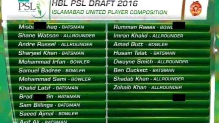 PSL TEAMS PLAYER SQUAID FOR PSL 2017 openning ceremony