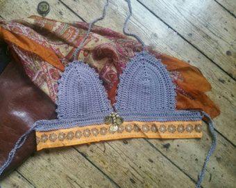 Crochet beach festival bralette boho festival clothing folk clothes summer fashion small burnt orange earthy muted tones Dolly Topsy Etsy UK