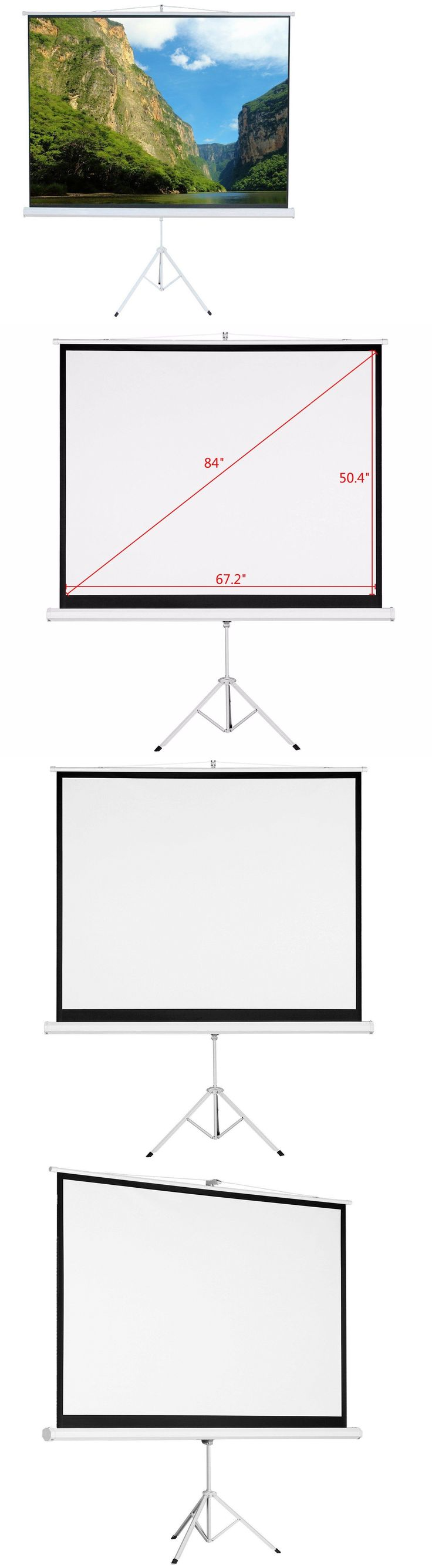 Projection Screens and Material: 84 4:3 Hd Foldable Tripod Stand Portable Projector Screen Projection Pull Up -> BUY IT NOW ONLY: $54.99 on eBay!
