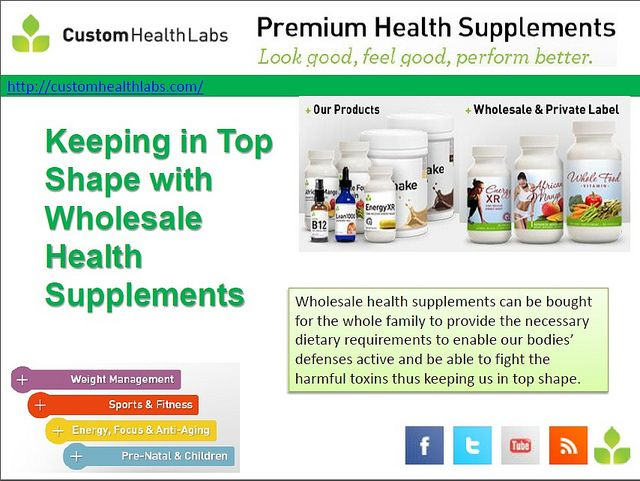 (customhealthlabs.com/) - Wholesale health supplements can be bought for the whole family to provide the necessary dietary requirements to enable our bodies' defenses active and be able to fight the harmful toxins thus keeping us in top shape.