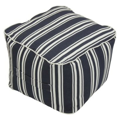 threshold outdoor fabric pouf in navy stripe available at target