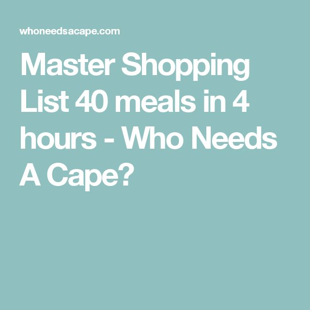 Master Shopping List 40 meals in 4 hours - Who Needs A Cape?