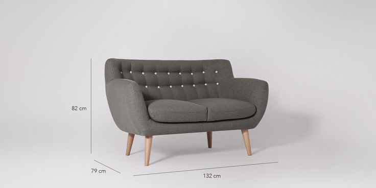 Swoon Editions Sofa, mid-century style in Mink Grey - £449