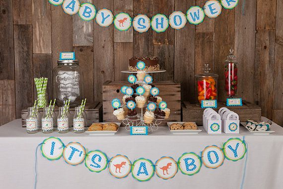 Dinosaur Baby Shower Decorations - It's a Boy BABY SHOWER Banner - Aqua Blue, Green  Orange Baby Shower Decorations - Dino Theme Shower on Etsy, $23.50