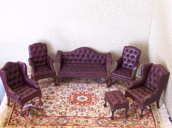 Leather Dollhouse Furniture....It's just tooooo cute!