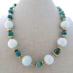 Collana con agata verde e amazzonite acqua, gioielli fatti a mano, bijoux pietre dure