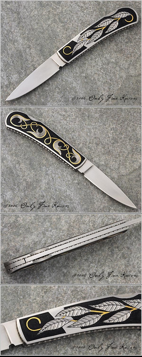 Van Barnett Linerlock Folder.  Leaf Motif Engraved Lockback Folder with Fileworked Liners.  Over All Length 	 5 3/4 in 	  	  Blade Length 	 2 1/2 in 	  	  Blade Material 	 Stainless   Frame Material   Stainless Steel  Sheath 	 Zippered Pouch  Scale Material 	 Engraved Stainless  Weight 	 2.7 oz  Thumb / Button  Thumbnail recess