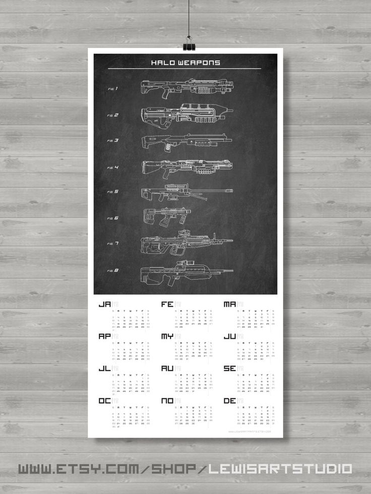 Halo Weapon Calendar, Patent Poster, Geek Calendar, 2016 Calendar, Wall Calendar, Master Chief, Halo Art, Prints, Game Calendar, Gift Ideas by LewisArtPrints on Etsy