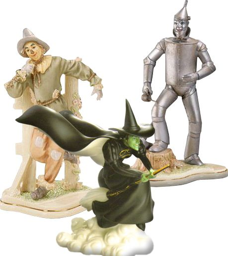 Lenox Wizard of Oz Wicked Witch's Fury Tin Man Scarecrow 3 Figurines