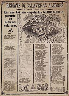 """Impresión de la """"Calavera Garbancera"""", mejor conocida como """"La Catrína"""" , de José Guadalupe Posada."""