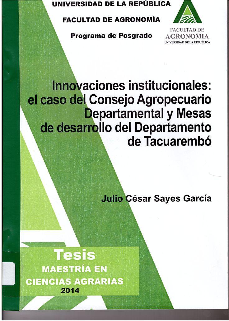 Tesis Magíster en Ciencias Agrarias, opción Ciencias Sociales.-- Universidad de la República (Uruguay). Facultad de Agronomía. Programa de Posgrado, 2014  TP 338.1 SAYi
