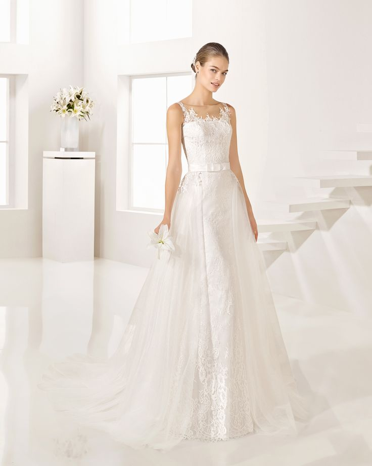 Lace and tulle dress, or lace and tulle overskirt, in natural/nude. Alma Novia…