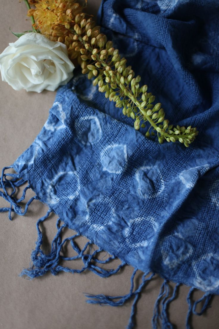 florals and shibori dyed scarf, Maggie Pate: inks+thread