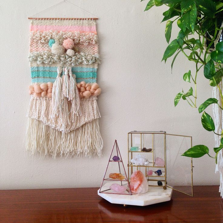 Woven wall hanging weaving and crystals  Maryanne Moodie