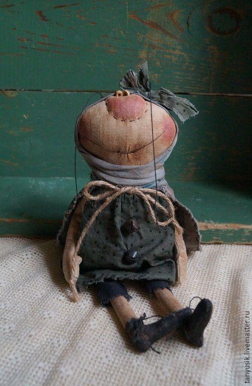 Купить Муха - разноцветный, муха, примитивная кукла, ручная авторская работа, лен, кофе, корица